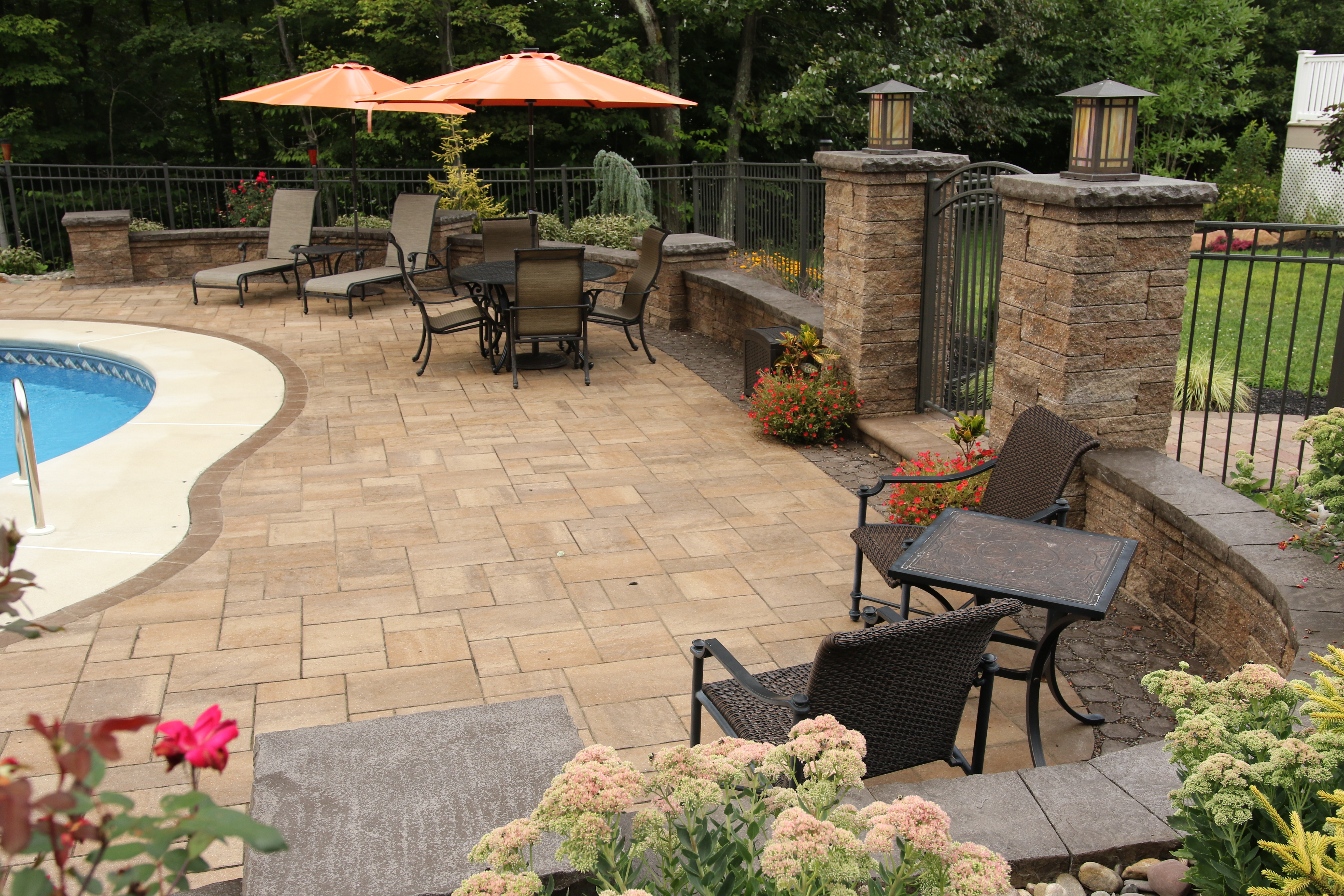 See This Amazing Hardscape Poolside Patio With Landscaping