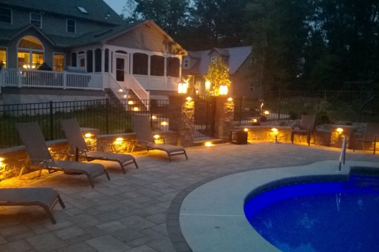 Hardscape Lighting Ideas for a Backyard Swimming Pool in Morgantown, PA