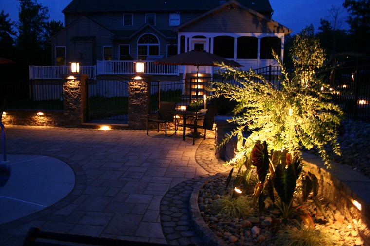 Outdoor Kitchen with Lighting Design in West Chester, PA