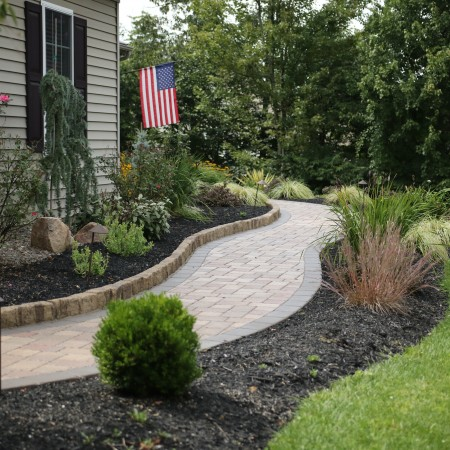 Landscape Lighting and Curved Hardscape Walkway in Lancaster, PA