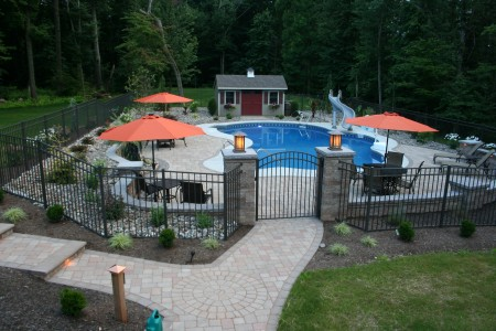 Morgantown PA Poolside Hardscape Patio with Landscaping