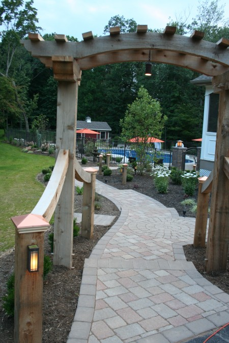 Custom Cedar Arbor with Landscaping | Get Your Design Started
