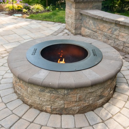 concrete walkway with fire pit