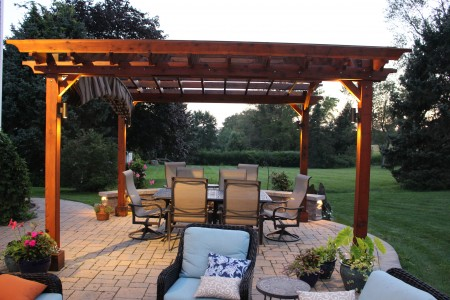 Exquisite Walkway with Cedar Arbor and Pergola