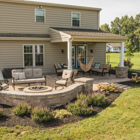 Outdoor Patio With Landscaping in lancaster pa