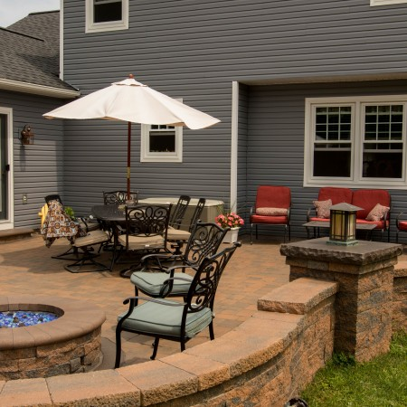Brick Patio with Seating Wall