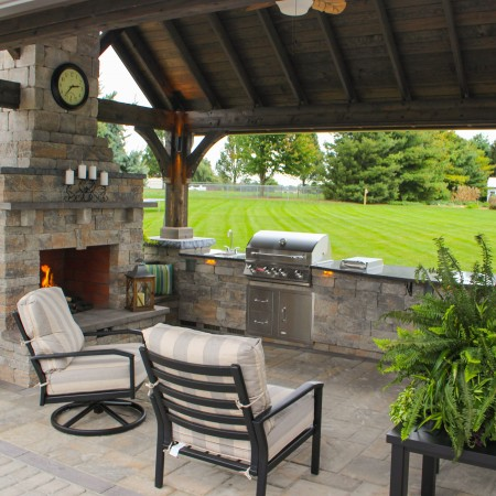 Patio with Outdoor Kitchen and Fireplace Leola PA