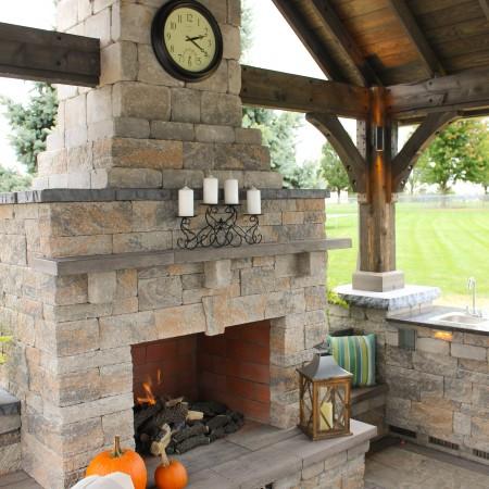 Patio with Outdoor Fireplace and Pavilion