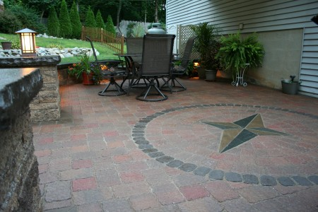 Compass Rose Paver Inlay by Willow Gates Landscaping