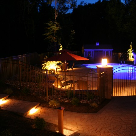Pool Patio with Lighting Features