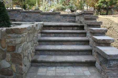 Retaining Wall Steps installation in Oxford PA