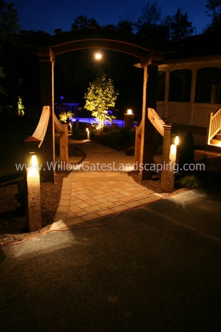 Custom Cedar Arbor & Walkway Designed by Willow Gates Landscaping