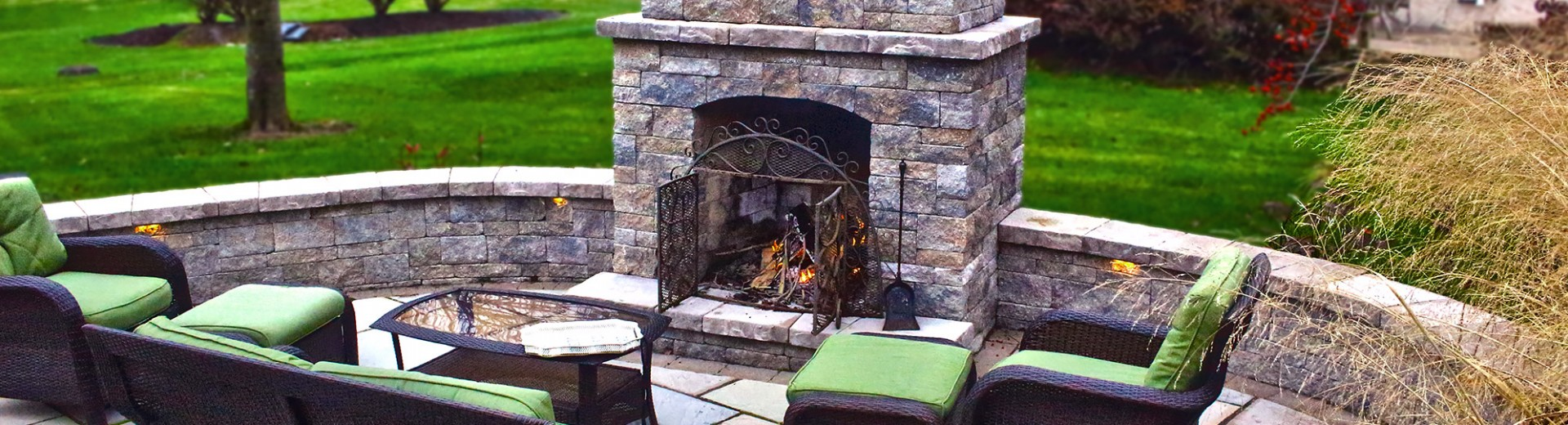 Landscaping with Outdoor Fireplace Lancaster PA